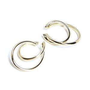 【1個】重なる円形&オーバル形のゴールドイヤーカフ、軟骨ピアス