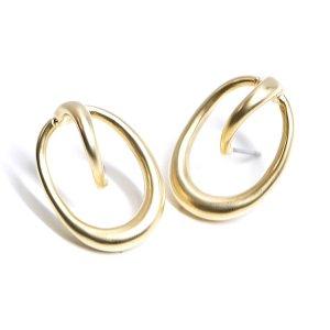 【1ペア】チタン芯!立体的なCircle&Ovalマットゴールドデザインピアス