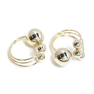 【1個】ボリューム感ある四つボールのゴールドリング、レディース指輪