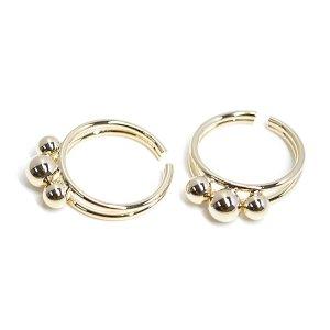 【1個】大きさ違いの三つボールのゴールドリング、レディース指輪