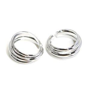 【1個】五つの曲線が絡み合うシルバーリング、レディース指輪