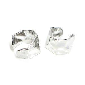 【1個】手作り感ある六角形の真鍮製シルバーイヤーカフ、軟骨ピアス