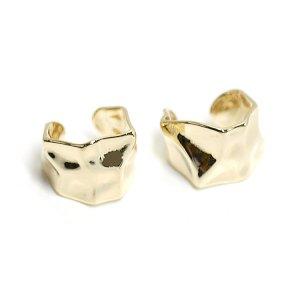 【1個】手作り感ある六角形の真鍮製ゴールドイヤーカフ、軟骨ピアス
