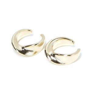 【1個】ツイスト曲線の真鍮製ゴールドイヤーカフ、軟骨ピアス