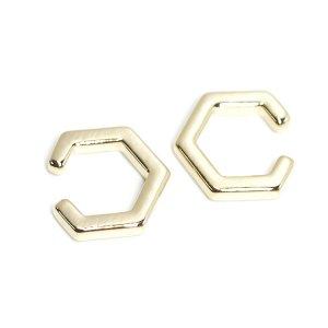 【1個】Modern Hexagonの真鍮製ゴールドイヤーカフ、軟骨ピアス