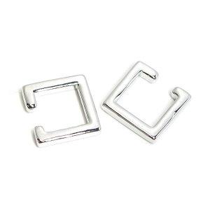 【1個】Modern Squareの真鍮製シルバーイヤーカフ、軟骨ピアス