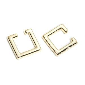 【1個】Modern Squareの真鍮製ゴールドイヤーカフ、軟骨ピアス