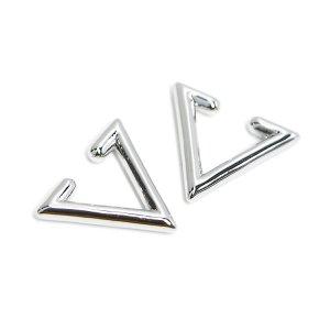 【1個】Modern Triangleの真鍮製シルバーイヤーカフ、軟骨ピアス