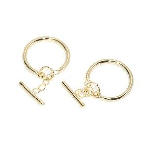 【1個】揺れ動くスティック付き洗練された光沢ゴールドリング、指輪