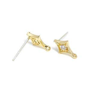 【1ペア】925刻印芯!煌めく一粒の繊細なダイヤモンドゴールドカン付きピアス、パーツ