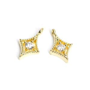 【2個入り】一粒CZ付き繊細なダイヤモンド形ゴールドチャーム、パーツ