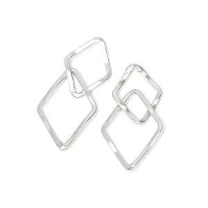 【2個入り】マットシルバー!二連ダイヤモンドモチーフのコネクター、チャーム