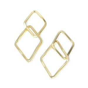 【2個入り】マットゴールド!二連ダイヤモンドモチーフのコネクター、チャーム