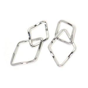 【2個入り】光沢シルバー!二連ダイヤモンドモチーフのコネクター、チャーム