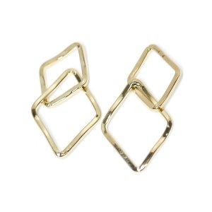 【2個入り】光沢ゴールド!二連ダイヤモンドモチーフのコネクター、チャーム