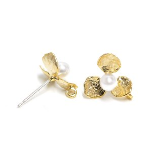 【1ペア】SV925芯!キュートなプチパール&花びらのマットゴールドカン付きピアス、パーツ
