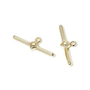 【2個入り】ダイヤモンドモチーフ装飾付き約24mmスティック光沢ゴールドチャーム、パーツ NF
