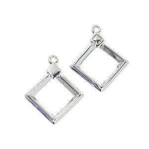 【2個入り】ダイヤモンド装飾付きシルバーチャーム、ペンダント NF