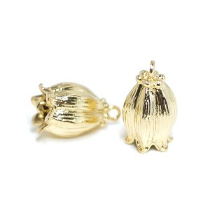 【2個入り】鈴蘭lily bellモチーフの光沢ゴールドコネクター、チャーム NF