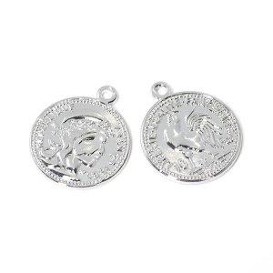 【1個】Vintage Coin約19mmシルバーチャーム、パーツ NF