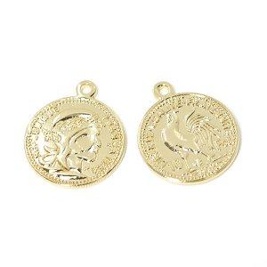 【1個】Vintage Coin約19mmゴールドチャーム、パーツ NF