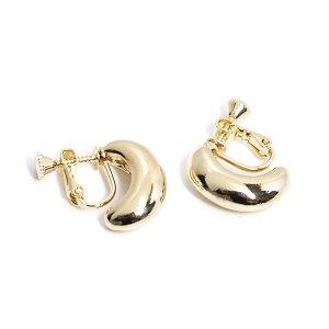 【1ペア】丸みあるふっくらとした曲線のゴールドイヤリング、パーツ