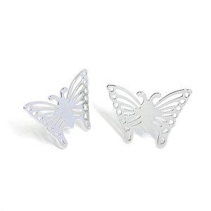 【1ペア】SV925刻印芯!蝶モチーフのButterflyシルバーピアス、パーツ NF