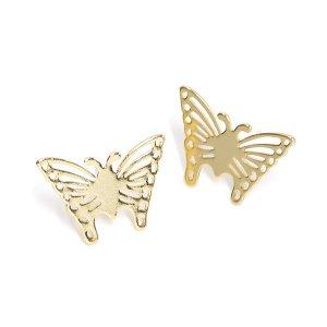 【1ペア】SV925刻印芯!蝶モチーフのButterflyゴールドピアス、パーツ NF
