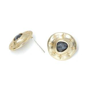【1ペア】Labradorite天然石&925刻印芯!手作り感ある円形に刻まれた星のカン付きマットゴールドピアス、パーツ