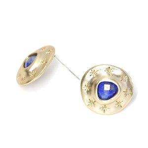 【1ペア】Lapis Lazuli天然石&925刻印芯!手作り感ある円形に刻まれた星のカン付きマットゴールドピアス、パーツ