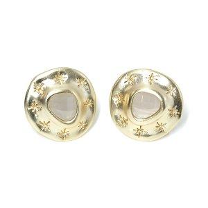 【1ペア】Grey Agate天然石&925刻印芯!手作り感ある円形に刻まれた星のカン付きマットゴールドピアス、パーツ