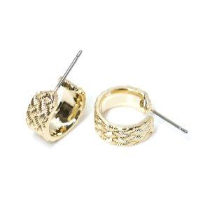 【1ペア】チタン芯!繊細で上品な模様入りゴールドピアス、パーツ