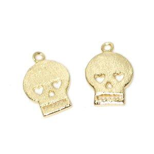 【2個入り】Cute Skullドクロモチーフの質感ある光沢ゴールドチャーム NF