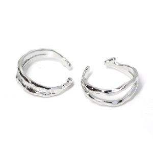 【1点】手作り感ある凹凸二連のシルバーフリーサイズリング、指輪 NF