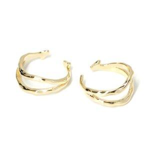 【1点】手作り感ある凹凸二連のゴールドフリーサイズリング、指輪 NF