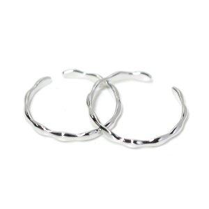 【1個】手作り感ある華奢な曲線のシルバーフリーサイズリング、指輪 NF