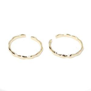【1点】手作り感ある華奢な曲線のゴールドフリーサイズリング、指輪 NF