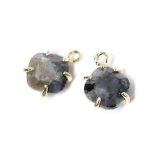 【1個】Labradorite天然石ゴールドチャーム、ペンダント NF