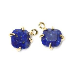 【1個】Lapis Lazuli天然石ゴールドチャーム、ペンダント NF