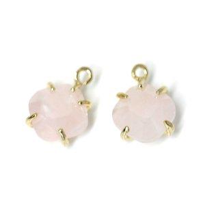 【1個】Rose quartz天然石ゴールドチャーム、ペンダント NF