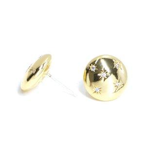 【1ペア】SV925芯!高品質CZスターが輝く円形ゴールドピアス NF