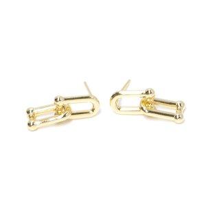 【1ペア】重なり揺れるチェーンの真鍮製ゴールドピアス NF