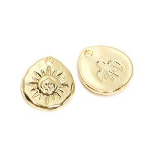 【2個入り】Sun& Lucky Birdゴールドコインペンダント、チャーム NF