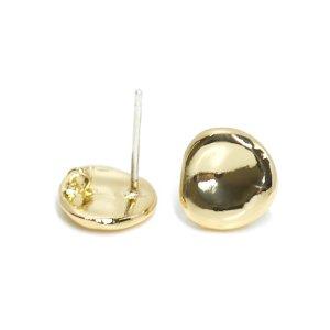 【1ペア】左右&925刻印芯!手作り感あるプチ円形光沢ゴールドカン付きピアス NF