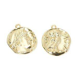 【2個入り】約21mm Vintageコイン形シルバーチャーム NF