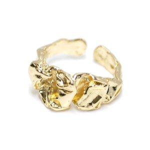 【1点】ゴージャス!曲線のシワ感あるゴールドフリーサイズリング、指輪 NF