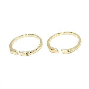 【1個】シック&シンプルのゴールドフリーサイズリング、指輪 NF