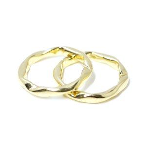 【1点】手作り感ある曲線ツイストのBold Designゴールドリング、指輪 NF