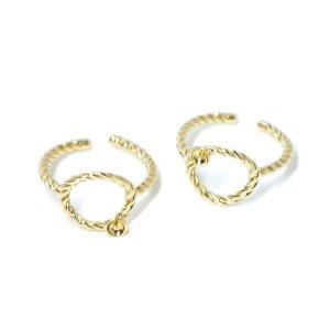 【1個】ツイストまるにピートン付きゴールドフリーサイズリング、指輪 NF