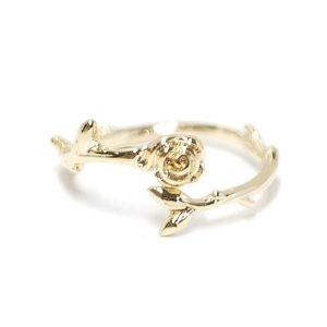 【1点】繊細なローズ&枝モチーフのゴールドフリーサイズリング、指輪 NF